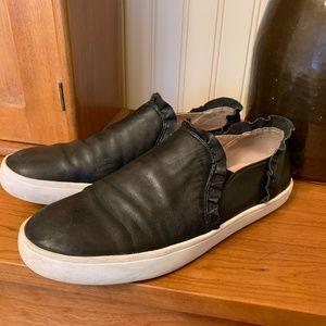 KATE SPADE Black Leather Lillie Flat 8.5